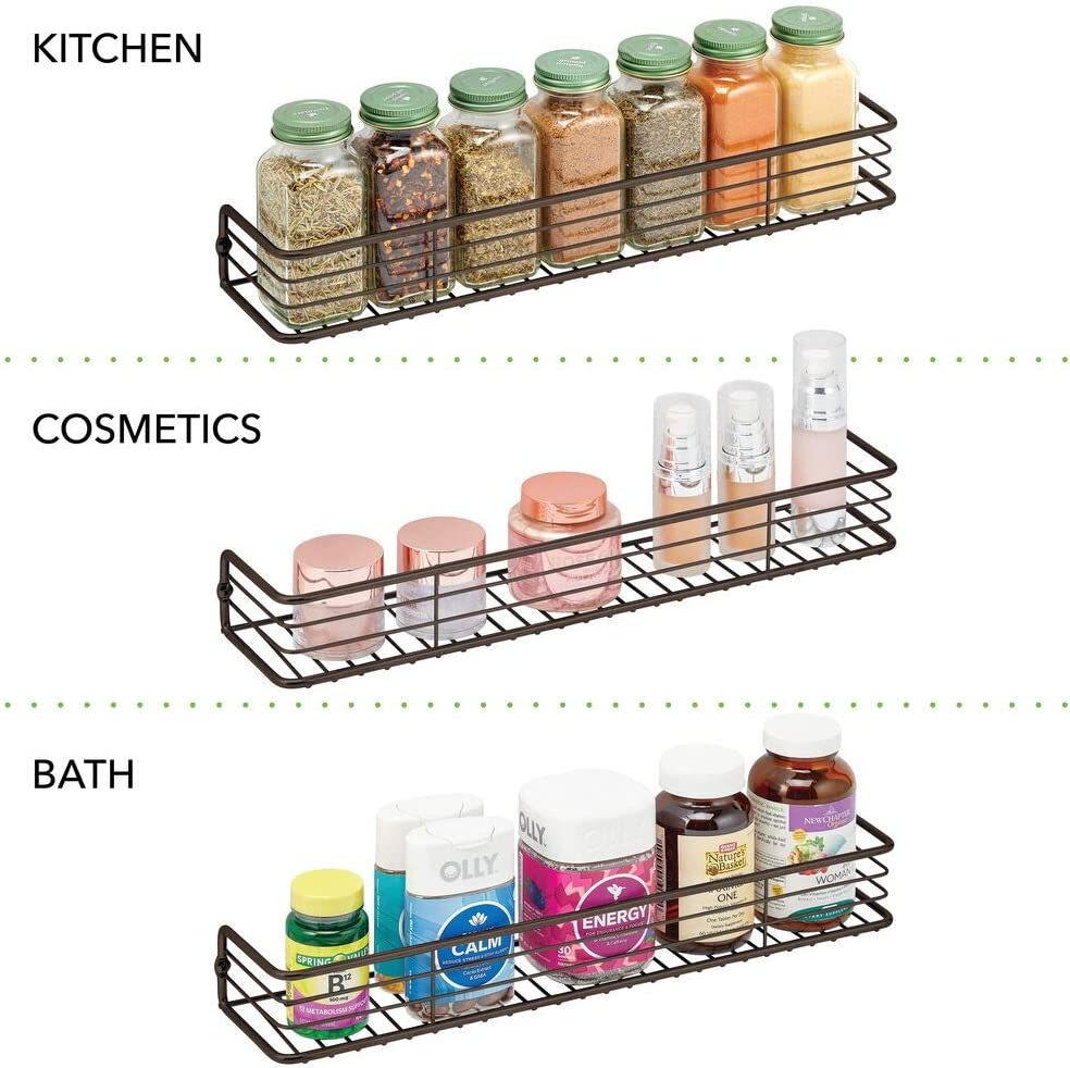 Buy Mdesign Metal Wire Wall Mount Spice Rack Shelf Organizer For Kitchen Cabinet Cupboard Food Pantry Bottle Holder 16 Inches 2 Pack Black Online In Turkey B07z8j348z