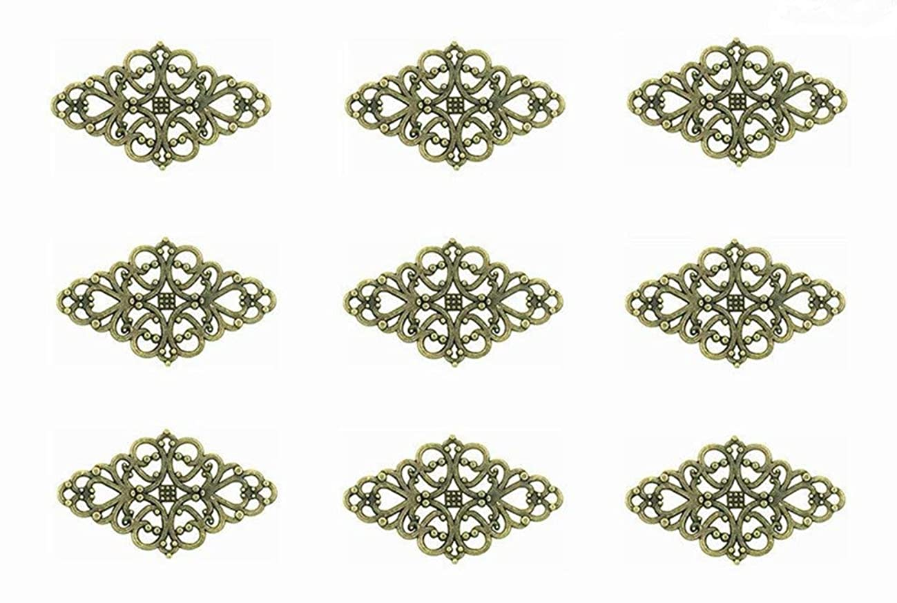 40pcs Filigree Flower Plate Charms,Hollowed-out Rhombic Pendant Connector for DIY Jewelry Making Wrapping Accessories By Alimitopia(Antique Bronze Tone)