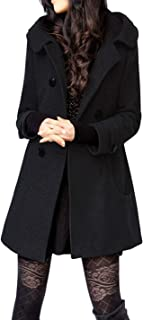 Tanming Women's Winter Double Breasted Wool Blend Long Pea Coat Hood