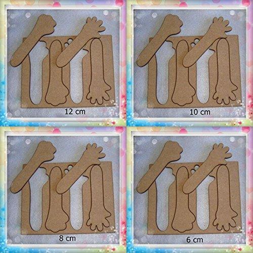 Lote de plantillas de manos para fofuchas: 12 cm, 10 cm, 8 cm, 6 cm