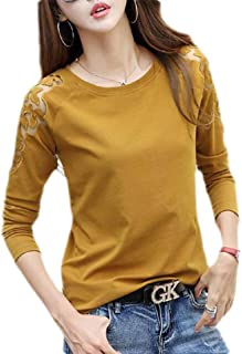 UUYUK Women Blouse Long Sleeve Cold Shoulder Cotton Lace Patchwork T-Shirt Tops