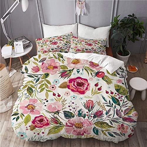 Juego de funda nórdica de 3 piezas de fácil cuidado y 2 fundas de almohada, flores Shabby Chic florales, pedales de rosas, puntos, hojas, brotes, tema de la...
