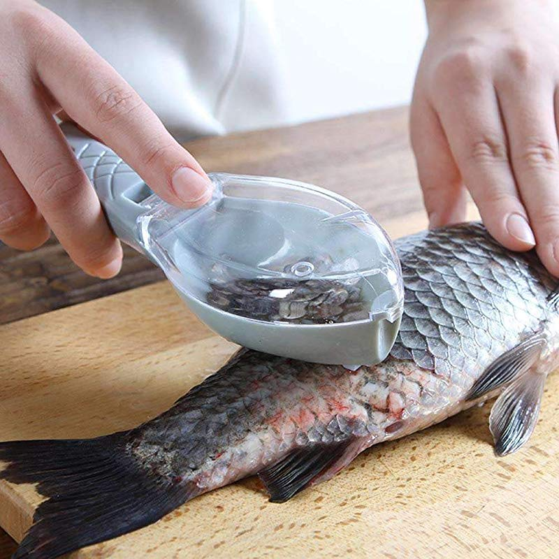 Plastic Fish Scales Graters Scraper Fish Cleaning Tool Scraping Scales Device With Cover Home Kitchen Cooking Tools