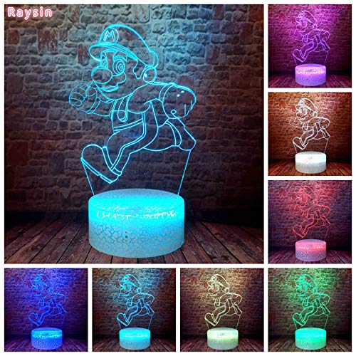 Game Super Running Mario Bros Action Figure Auto Professional 3D LED Night Light USB Table Lamp Kids Birthday Gift Bedside Home Decoration