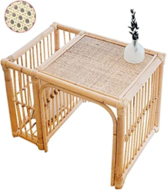 Japanese Rattan Tea Table Personality B&B Side Table Bedroom Tatami Table Living Room Magazine Storage Table Tables (Color :