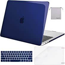 MOSISO MacBook Pro 15 inch Case 2019 2018 2017 2016 Release A1990 A1707, Plastic Hard Shell Case&Keyboard Cover&Screen Protector&Storage Bag Compatible with MacBook Pro 15 Touch Bar, Crystal Navy Blue