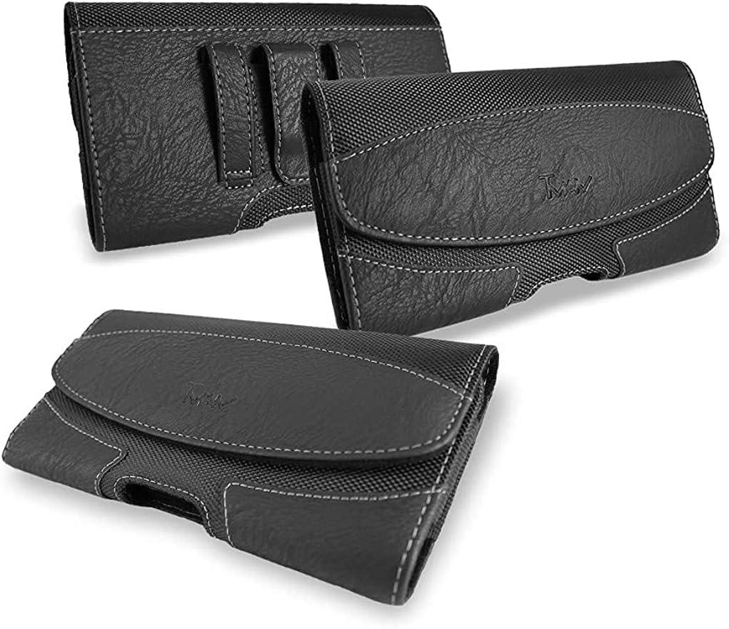 for Motorola Moto g Power 2021 Case; TMAN Durable Holster Leather Belt Clip/Belt Loops Pouch Case for Motorola Moto g Power (2021) (XL Size Fit)
