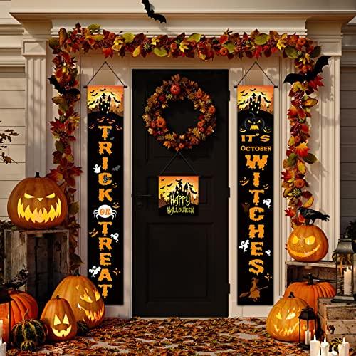 LUROON Pancarta de Halloween Decoraciones para Puertas de Carteles para Colgar Truco o Trato Decoración de Porche de Halloween Fiesta Decoración Interior y Exterior (Naranja)