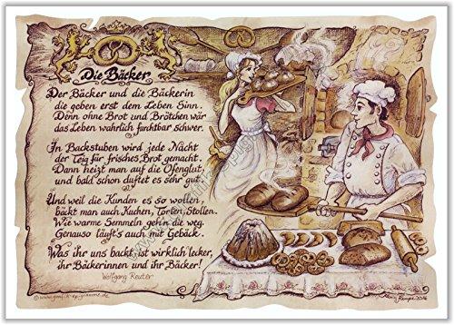 Die Staffelei Geschenk Bäcker Konditor Bäckerei Zeichnung Color 30 x 21 cm
