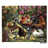 DIY Oil Pinting Ölgemälde von Zahlen Digital Rooster Familie Huhn Tier Moderne Wandkunst Leinwand Gemälde einzigartiges Geschenk Home Decor-gerahmt,60x75cm