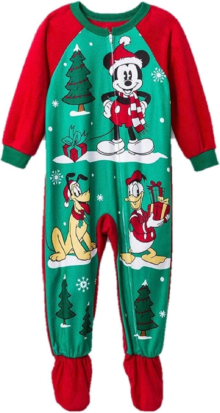 Toddler Boys' Christmas Holiday Santa Mickey Mouse Pluto Donald Duck Footed Pajamas