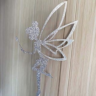 YUINYO 10 PCS Silver Glitter Fairy Cupcake Toppers Angel Cake Topper Ballet Cupcake Topper Birthday Bridal Shower Baby Sho...