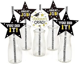 36 PCS Class of 2019 Graduation Party Paper Straw Decoration - Graduation Cap Straws Paper for Graduation Party Favors