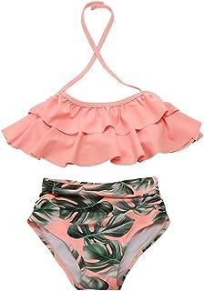 Kisskids Girls Swimsuit Two Pieces Bikini Set Ruffle Falbala Swimwear Bathing Suits for Women