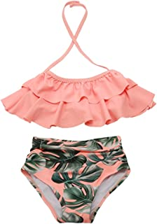 Girls Swimsuit Falbala High Waisted Bikini Set Halter Neck Swimwear Dots Printing Bathing Suits