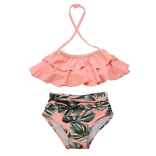 5df5ce8671 Girls Swimsuit Falbala High Waisted Bikini Set Halter Neck Swimwear Dots  Printing Bathing Suits
