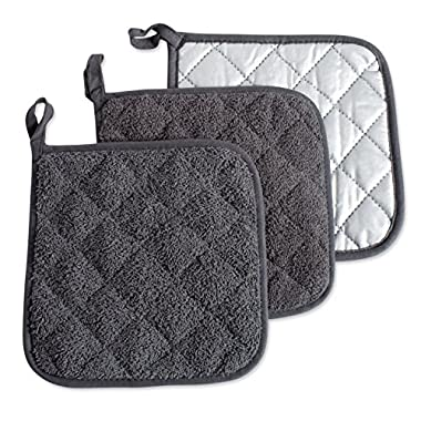 DII 100% Cotton, Machine Washable, Heat Resistant, Everyday Kitchen Basic Terry Pot Holder, 7 x 7, Set of 3, Potholder, Mineral Gray, 3 Piece