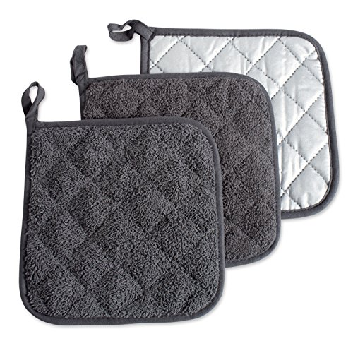 DII 100% Cotton, Quilted Terry Oven Set Machine Washable, Heat Resistant with Hanging Loop, Potholder, Mineral Gray 3 Piece
