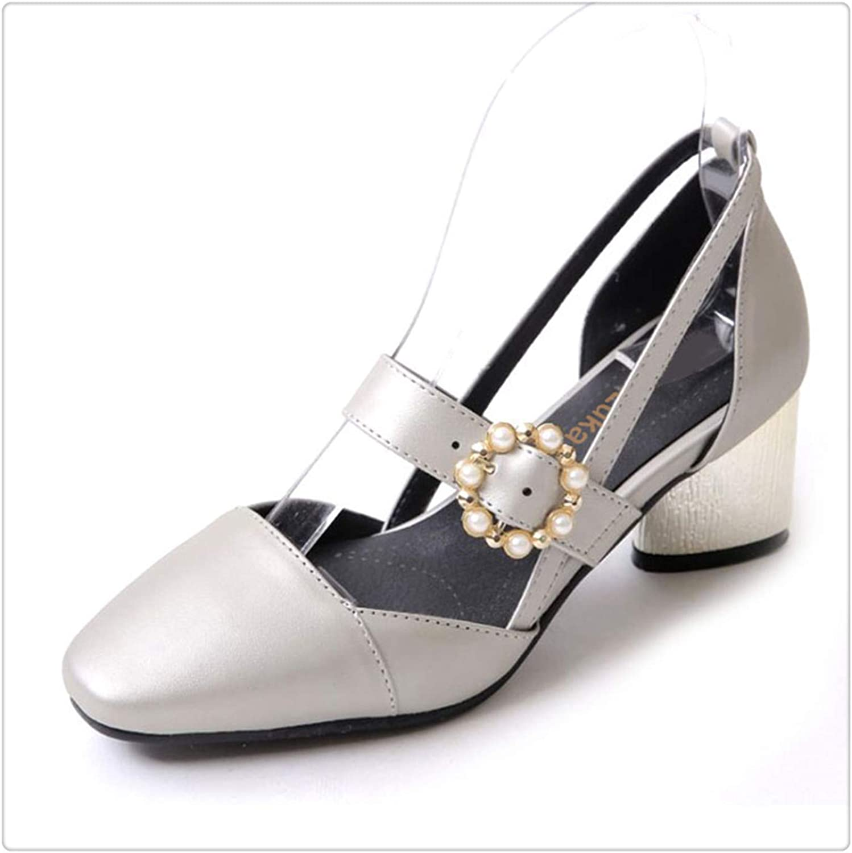 ZXCVB& Plus Size 32-45 LadiesHigh Heels Sandals Women Buckle String Bead Heel shoes Women's Fashion Office Daily Footwear Silver 9
