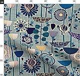 Tiere, Bienen, Denim, Blau, Blumen, Vintage Stoffe -