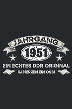 Jahrgang 1951 DDR: Schickes, kleines und lustiges Notizbuch für Männer und Frauen, die in der DDR geboren wurden - Geburts...