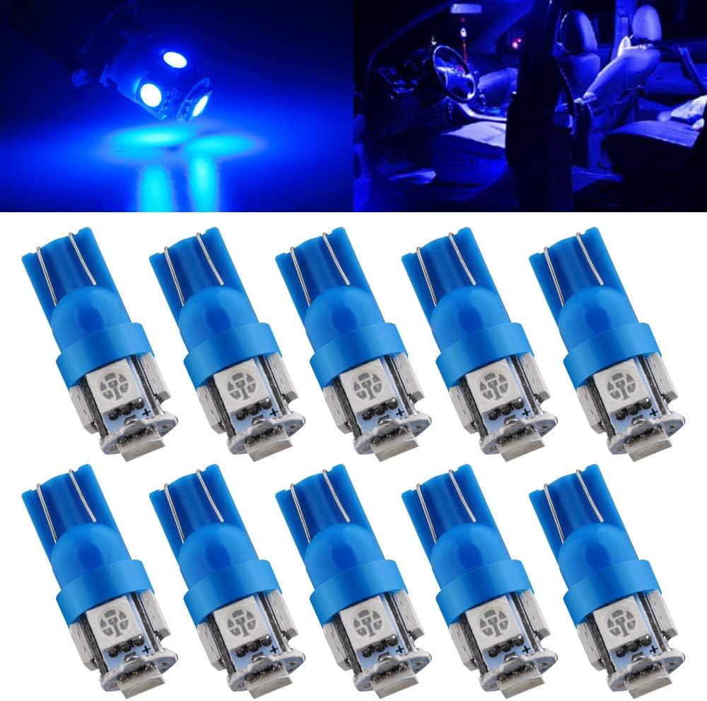Qasim T10 Wedge 5-SMD 5050 Ultra Blue LED Bulbs Light 2825 Max 72% OFF W5W 1 Ranking TOP5