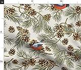 Spoonflower Stoff - Tannenbaum Beige Zapfen Tannenzapfen
