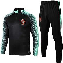 Equipo de Portugal Trajes de Entrenamiento de Manga Larga Uniformes de Equipo en casa Uniformes de fútbol Suéter de Media Cremallera Calentamiento Traje