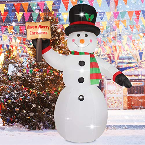 ShinyDec Christmas Inflatable 8ft. Xmas Snowman with Hat and Scarf 4 LED Lights Airblown Large Outdoor Yard Decorations, White