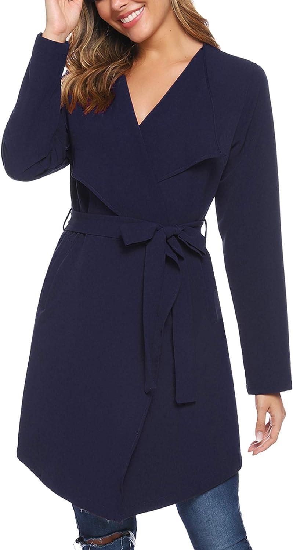 iClosam Women's Thin Trench Coat Long Wrap Coat Open Peacoat with Belt