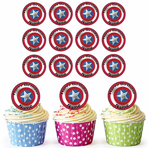 Captain America Shield 24 Personalised Edible Cupcake Toppers/Birthday Cake Decorations - Easy Precut Circles