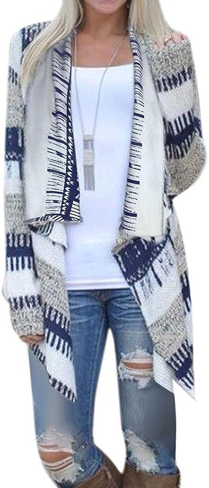 Phoenix Womens Geometric Print Casual Knit Cape Cloak Sweater Cardigan Coat