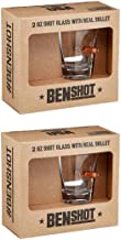 [set of 2] The Original BenShot Shot Glass with Real 0.308 Bullet Bulletproof Made in the USA