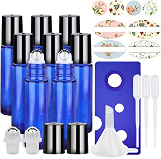 8 Pack, HwaShin 10 ml Cobalt Blue Glass Roll on Bottles, Essential Oil Roller Bottles with Stainless Steel Roller Balls(1 Opener, 1 Funnel, 3 Droppers,2 Extra Roller Balls & 12 Pieces Labels Included)