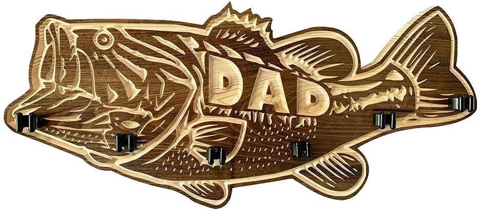 DAOLIN Wooden Largemouth Atlanta Mall Bass Fishing cheap Wall-Mounted Rod Fi Holder
