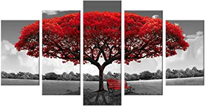 5 Panels Canvas Wall Art Red Tree Picture Prints on Canvas Landscape Painting Modern Giclee Artwork Stretched and Framed R...