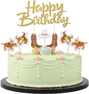 LVEUD Paper jam Cowboy theme 18PC happy birthday cake topper Party Supplies Decoration