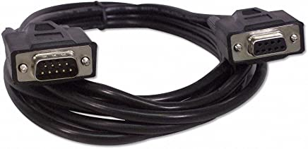 YCS Basics Black 10 Foot DB9 9 Pin Serial / RS232 Male / Female Extension Cable