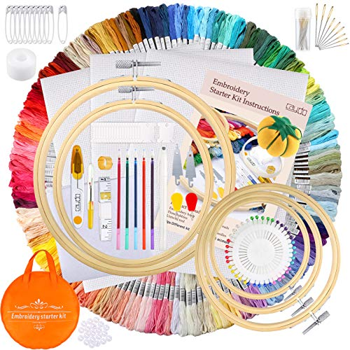 Caydo 299 Pieces Embroidery Kit with Instructions, 150 Colors Threads, 3 Pieces Aida Cloth, 5 Pieces Embroidery Hoops, 5 Pieces Transfer Paper, with Cross Stitch Tools for Adults and Kids Beginners
