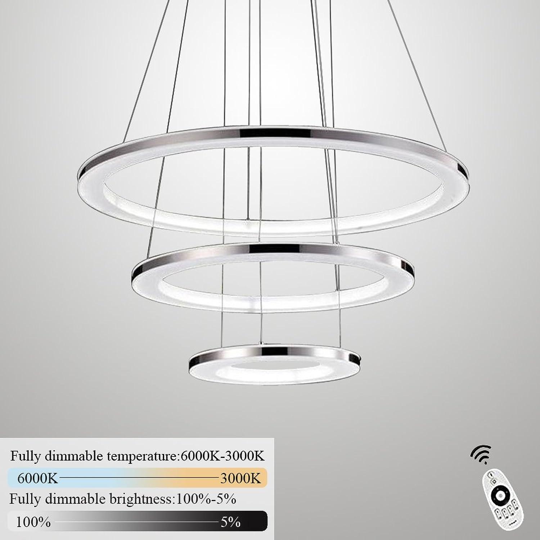 ZMH Moderne LED Pendelleuchte esstisch 70W Led 3-Ring led dimmbar Fernbedienung Hngeleuchte Wohnzimmer Deckenleuchte Schlafzimmer Hhenverstehbar Hngelampe Kronleuchter (30+50+70CM-3Ring)