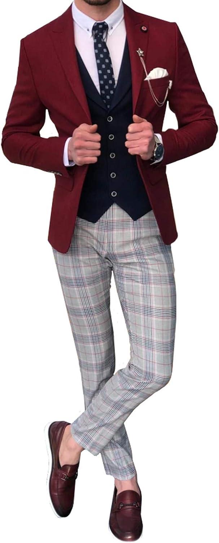 Mens Wedding 3 Pieces Suits Groom Tuxedos Business Blazer Jacket Vest & Pants