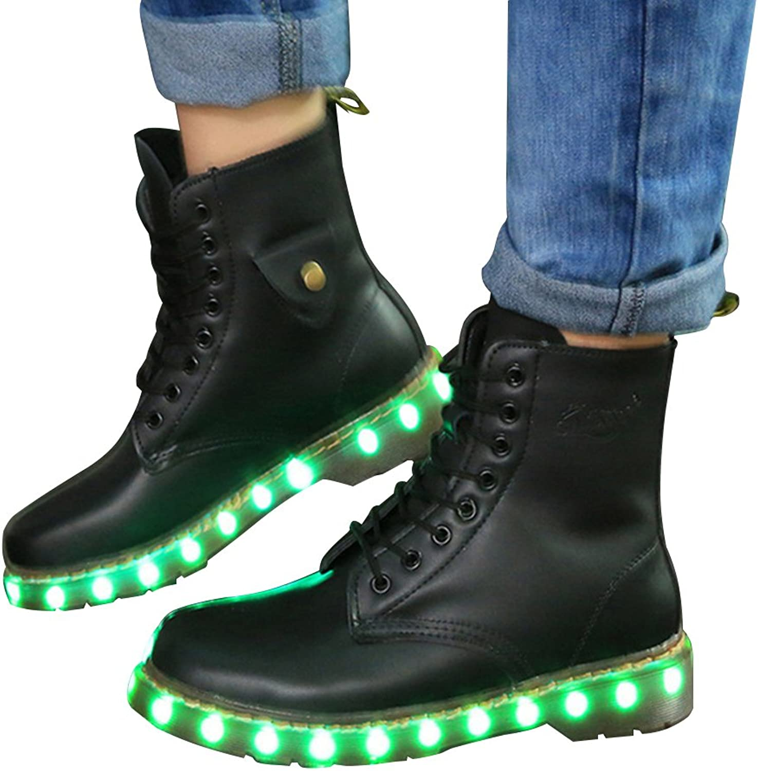 BININBOX Women's Bright LED Marten Boots 7 color Changing Flashing shoes