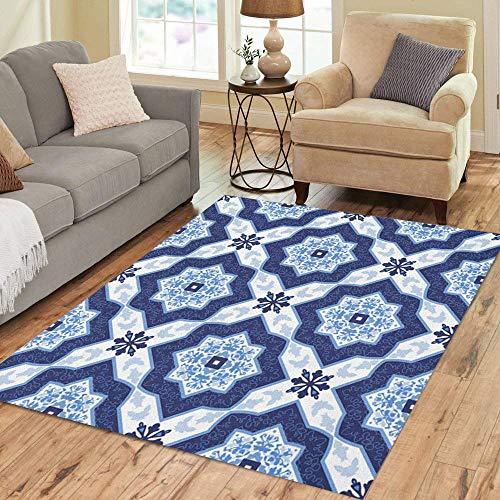 Alfombra de área azulejo portugués, azul y blanco, magníficos patrones para decoración del hogar, 190 cm x 280 cm