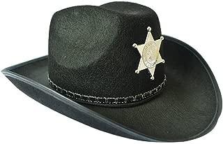 luyaoyao Cowboy Hat Western Sheriff Hat Fancy Dress Cowboy Themed Black
