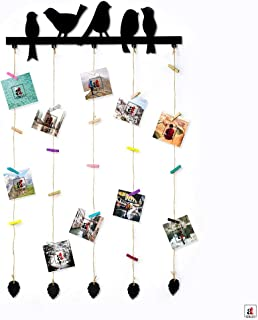 Art Street Birds Design MDF Plaque Clip Photo Collage Hanging Frame with Wooden Clips (Black, 18.5 x 32 Inches)