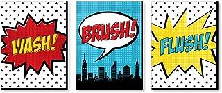 Big Dot of Happiness Bam Superhero - Kids Bathroom Rules Wall Art - 7.5 x 10 inches - Set of 3 Signs - Wash, Brush, Flush