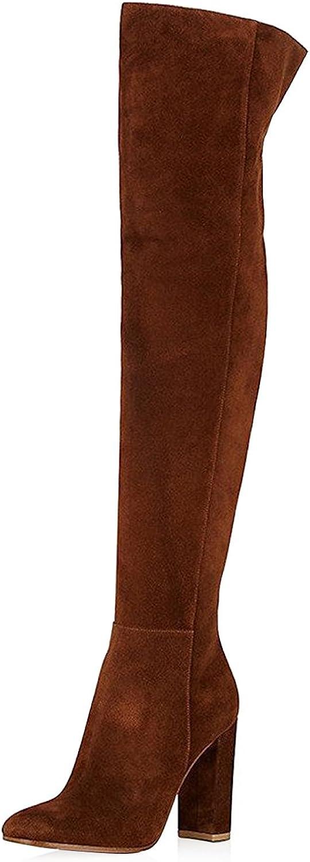 Max 57% Mesa Mall OFF FSJ Women Over The Knee Chunky Heels Stretch Thigh Zip High