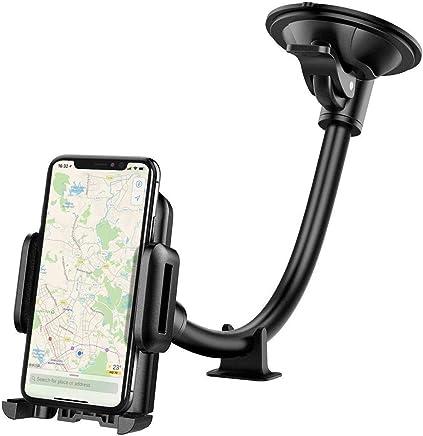 Mpow Support Téléphone Voiture Universel Bras Long Pare-brise Voiture Téléphone Support 360° Rotation Support pour iPhone XS Max/XS/XR/X/8/7/6S plus, Samsung S10/S9 note LG, etc