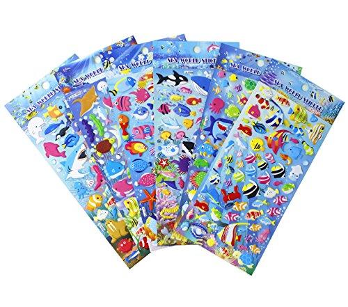 海の生き物シール サメやヒトデや海馬やタコやウミガメやクジラやイルカや熱帯魚 ごほうびシール 6枚セット