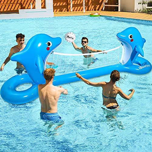iBaseToy Aufblasbares Pool Volleyballnetz, 300 x 90cm Delphin-förmiges Pool-Volleyballnetz Schwimmender mit 2 Bällen für das Pool-Schwimmspielspielzeug für Sommerwasser